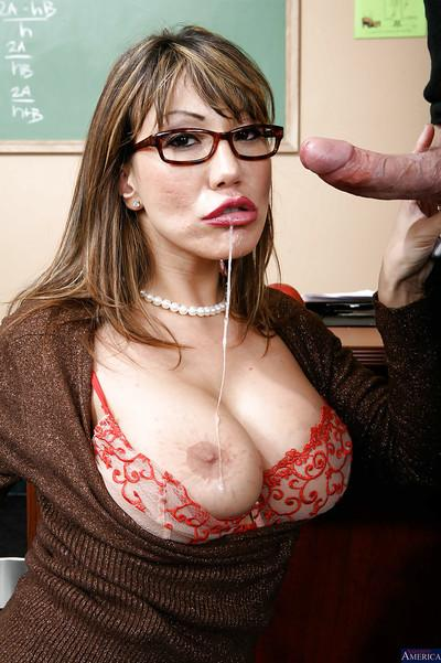 Milf teacher in glasses Ava Devine is sucking this pretty hard dick