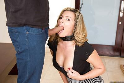 Collared wife Danica Dillon giving a fully clothed blowjob on knees