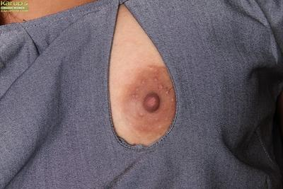 Latina MILF Abby Melon undresses to expose big tits and shaved pussy