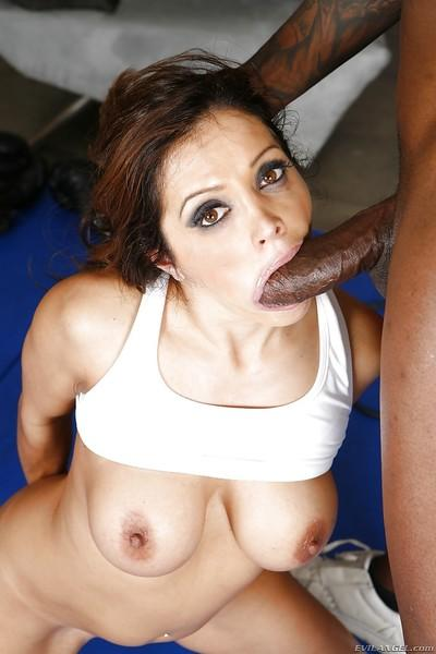 Tattooed Francesca Le gives a head for this big black dick in close-up