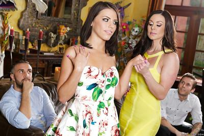 Horny mom and daughter Adriana Chechik and Kendra Lust sharing a cock