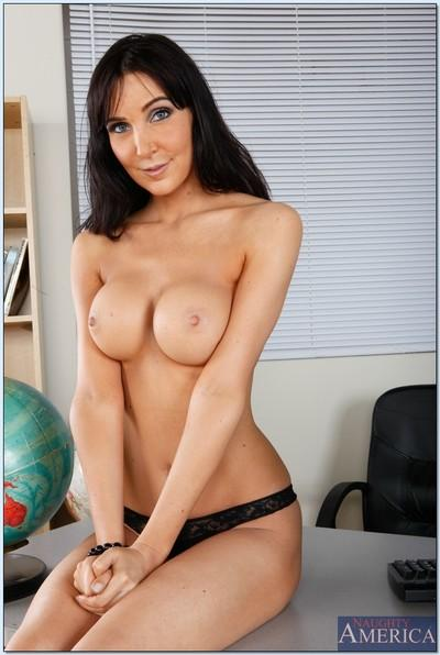 Brunette MILF teacher Diana Prince showing of her body in lingerie.