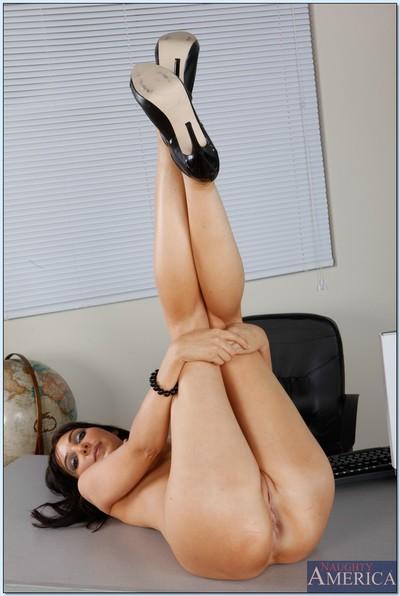 Brunette MILF teacher Diana Prince showing of her body in lingerie.