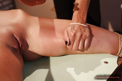MILF Mandy Bright ties up and masturbates Bambi with tiny tits