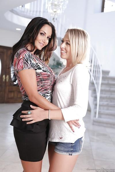 Lesbians Ava Addams and Zoey Monroe are kissing and undressing