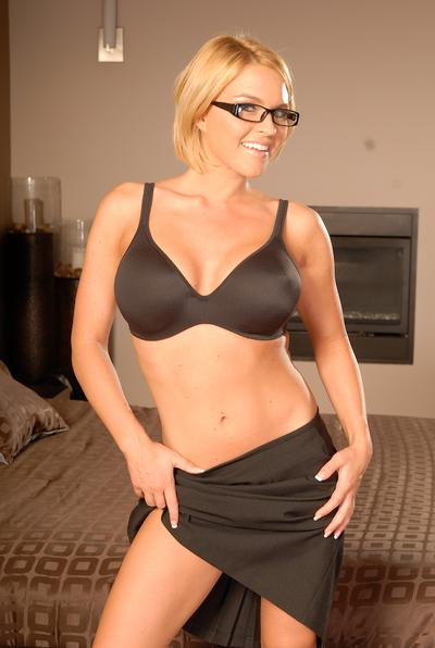 MILF babe with big tits in glasses Krissy Lynn teases her cunt