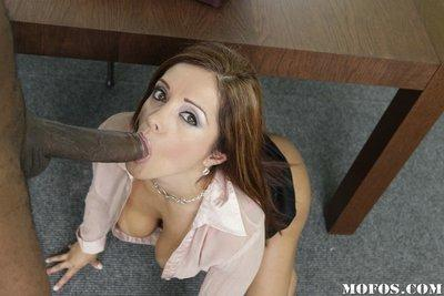 Hot MILF Francesca Le fevereshly sucking and fucking a big black meaty pole