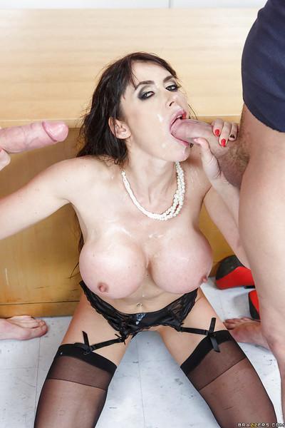 Cougar slut Eva Karera fucked by two dudes at the same time