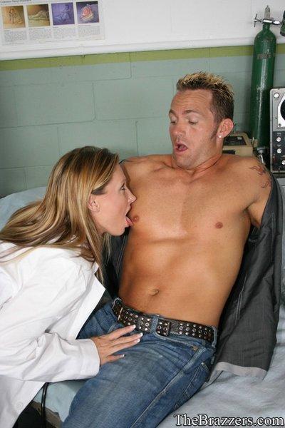 Devon Lee strips off uniform and fucks till cum drips down her tits