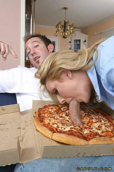 Slutty MILF  gets her face and jugs jizzed after a threesome with pizza-guys