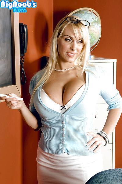 Blonde teacher Holly Halston unveils big knockers for Gonzo fucking