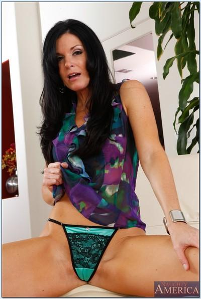 Sexy mom India Summer showing her sex-hungry shaven pussy