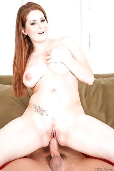 Hardcore ass fuck of a milf pornstar Allison Moore on a brown couch