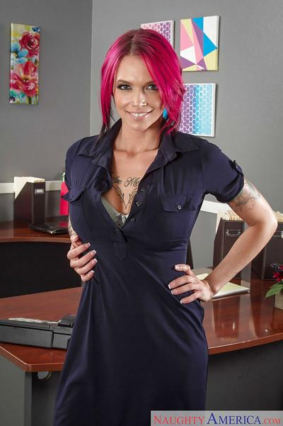Babe Anna Bell Peaks, a hot milf getting naughty in office touching her big tits