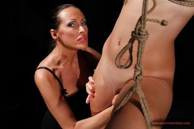 MILF babe Mandy Bright torturing Chary with fetish sex toys