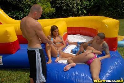 Bikini milfs Rio & Bella Beyle get horny during hardcore outdoor orgy