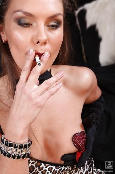 Smoking MILF Michell stripping and masturbating her tight holes