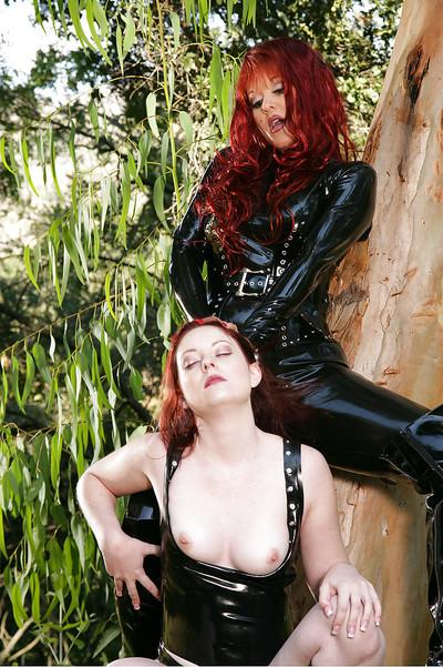 Seductive babes Aradia & Fiona C playing with their toys outdoor