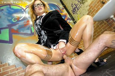 Lusty european babe Stacy Silver gets fucked and bukkaked with fake cum