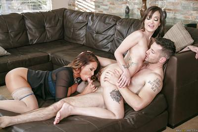 Bad girls Gia Paige and Tory Lane face sit and ride lucky man