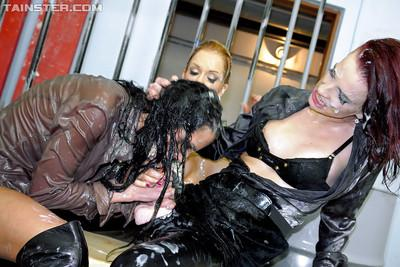 Seductive european lesbians getting bukkaked with fake jizz
