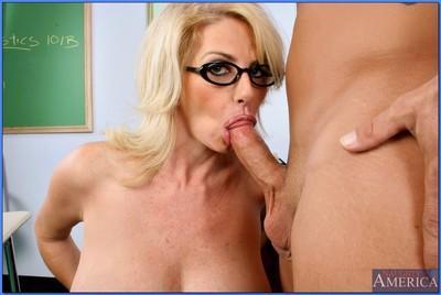 Busty MILF teacher in glasses Penny Porsche bent over desk and fucked