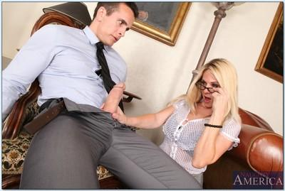 Slutty office blonde in glasses Angela Attison gets a huge cock to fuck