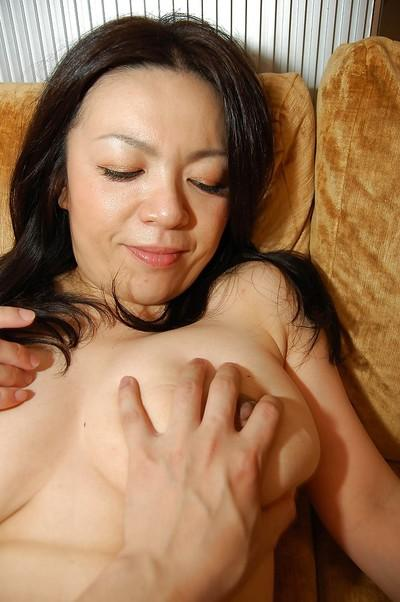 Horny asian MILF gets her shaggy pussy vibed and boned-up tough