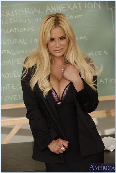 Blonde MILF teacher Shyla Stylez spreading her pussy in class