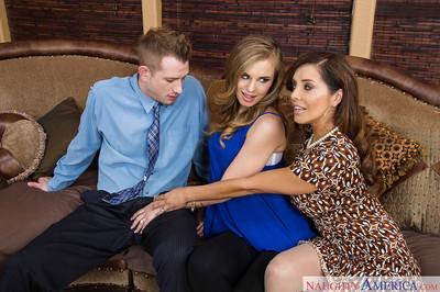 Francesca Le and Jillian Janson are giving this businessman a blowjob