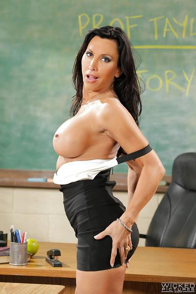 MILF sex teacher Lezley Zen whips out big juggs and masturbates at school