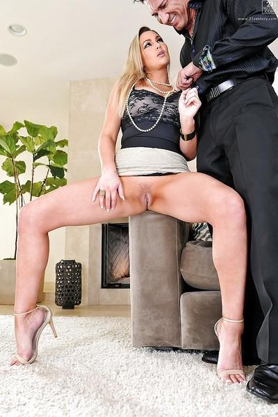 Abbey Brooks, with an upskirt, is giving head on her knees and fucks