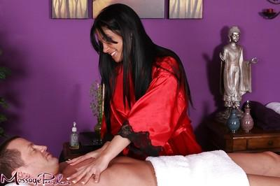 Latina MILF Rebecca Linares giving a fully clothed handjob