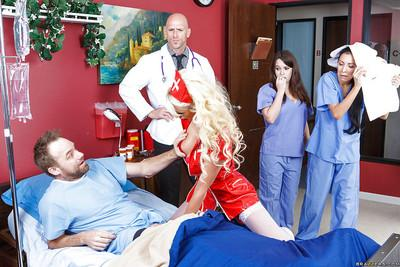 Glamorous nurse in white nylons gets fucked and facialized by a hung doctor