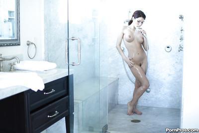 Latina milf Aleksa Nicole is washing her stunning big boobies