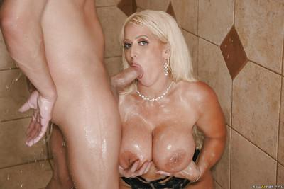 Chubby MILF Alura Jenson gets her big knockers soaped up in shower