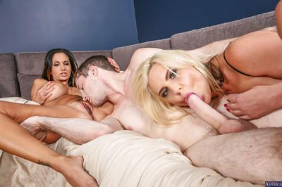 Two hardcore big melons MILFs Ava and Phoenix are eating that sperm