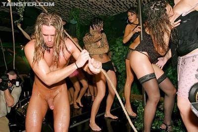 Stunning girls enjoy hardcore groupsex at the wild night party