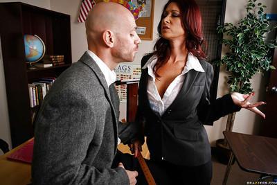 Big busted teacher Tiffany Mynx sucks and fucks a big cock