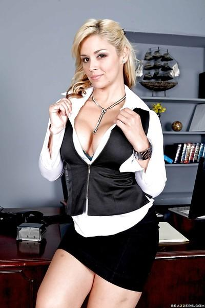 Graceful office milf Sarah Vandella squeezes her gorgeous boobs