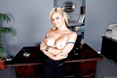 Graceful office milf Sarah Vandella squeezes her gorgeous boobs