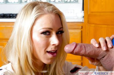 Beautiful blonde pornstar wife Katie Morgan giving her hubby head