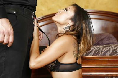 Beautiful Oriental MILF Kaylani Lei giving blowjob for cum facial