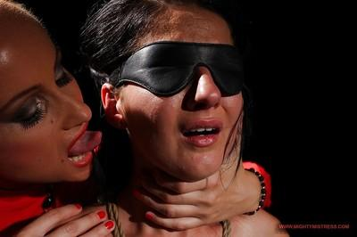 Deborah Black gets blindfolded and tortured by lusty MILF Katy Parker