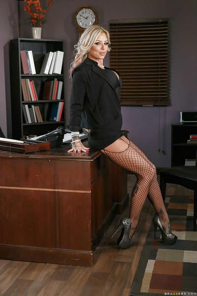 Chesty blonde boss woman Britney Shannon modeling fishnet stockings at work