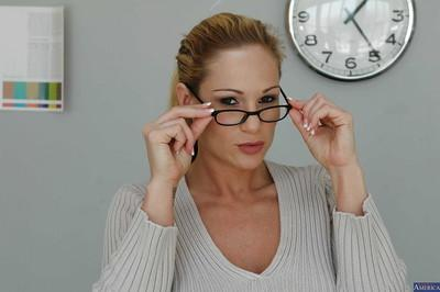 Sexy milf teacher with big natural demonstrates her pussy in glasses