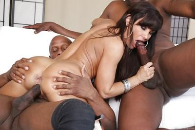 Interracial threesome fucking with astonishing seductive Lisa Ann