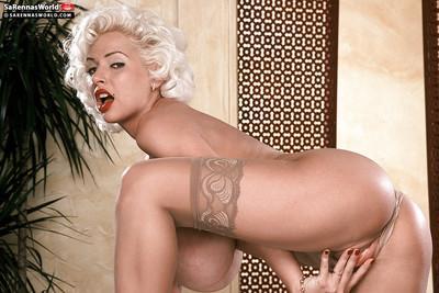 Chesty blonde retro babe SaRenna Lee exposing massive MILF pornstar boobs