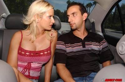 Slutty MILF Lauren Kain shows off her blowjob skills in the car