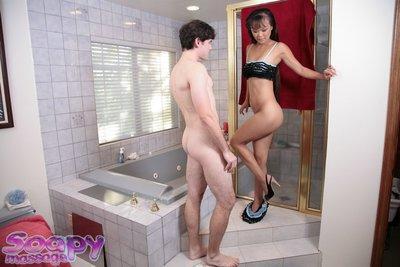 Sacred Asian prostitute Mia Smiles invites male in shower room